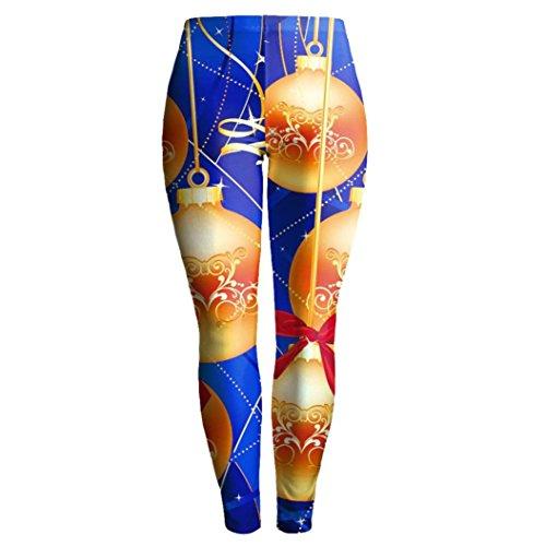 Ouneed® Femme Noel Costume Imprime Legging en Polyester Or