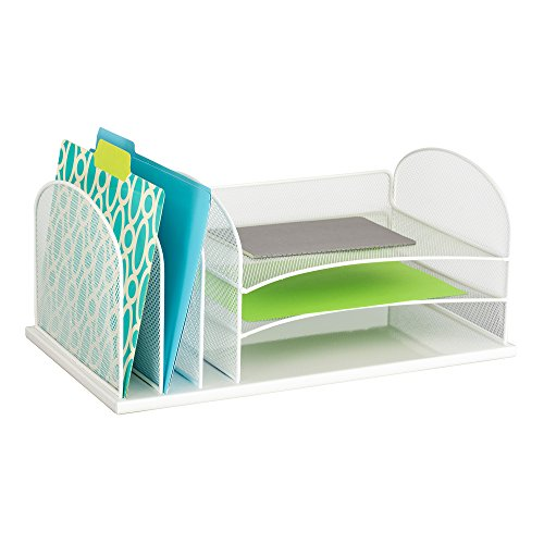 Safco Products 3254WH Onyx Mesh Desktop Organizer with 3 Vertical/3 Horizontal Sections, White by Safco