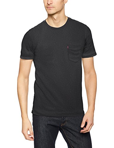 Levi's Herren T-Shirt SS Set-in Sunset Pocket Schwarz (Obsidian Heather 0034)
