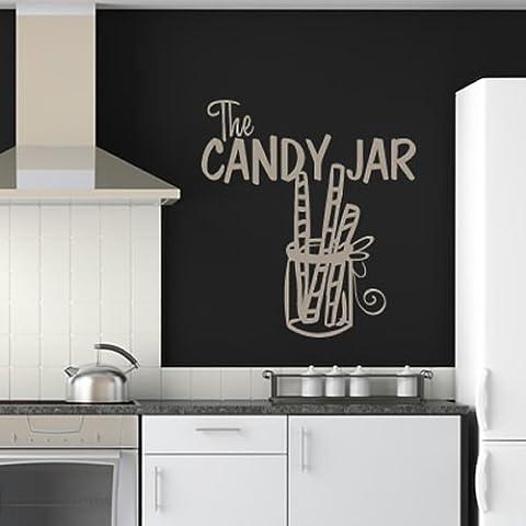The Candy Jar Wall Sticker Cucina Adesivo Art disponibile in 5 dimensioni e 25 colori Grande Verde muschio