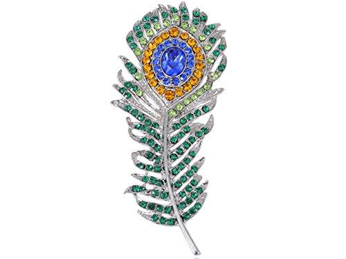 Alilang Frauen Enchanting Bunte Single Pfauen Feder Blau Grün Kristall Strass Elegant ()