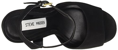 Steve Madden Hypperr Nubuck, Chaussures à Talons à Bout Ouvert Femme Noir