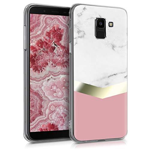 kwmobile Samsung Galaxy J6 Hülle - Handyhülle für Samsung Galaxy J6 - Handy Case in Weiß Gold Altrosa