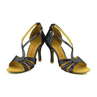 Scarpe da ballo-Personalizzabile-Da donna-Balli latino-americani / Salsa-Tacco su misura-Brillantini-Nero / Rosso / Argento / Dorato Black