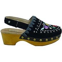 Mou Zapatos Mujer Zuecos Mules Wood Clog Back Negro 40