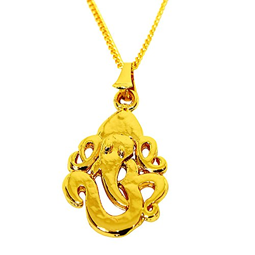 Surat Diamonds Ganesh Religious Ganapati 24kt Gold Plated Pendant for Women with Chain (SDS268)