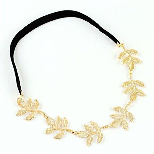 Metallic Süße Dame Golden Leaf Blumen-elastisches Haar-Band-Stirnband von Boolavard ® - Niedliche Göttin Kostüm