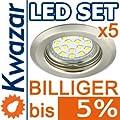 5er Set K-15 Einbaustrahler 15p Smd Led Warmweiss Inkl Gu10 230v Fassung - Nickel Matt Innox von Kwazar