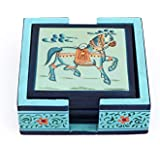 Harit Handicrafts Decorative Coaster Set. Handmade Exclusive Wooden Hand-Painted Dancing Horse Tea Coasters Set Of 6. Multipurpose Coffee/Drink Coasters With Holder - SEHWH11180036B