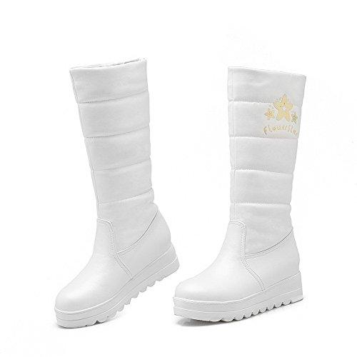 AgooLar Damen Rund Zehe Mittler Absatz Weiches Material Mitte-Spitze Rein Stiefel Weiß
