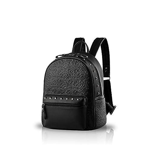 Nicole&Doris New Präge Mode Wilde Reisetaschen Mädchen-Schule-Taschen Rucksäcke PU-Leder-Handtasche (Zaino In Pelle Nera Borse)
