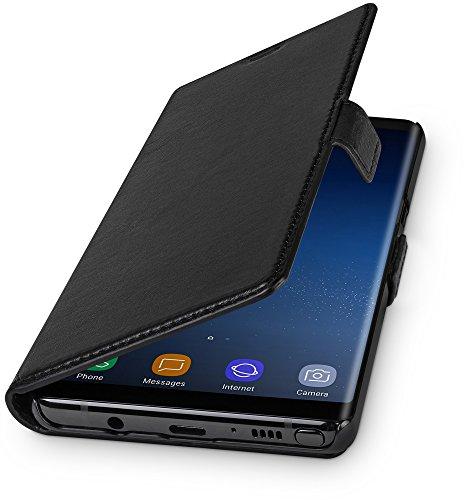 WIIUKA Echt Ledertasche - TRAVEL - für Samsung Galaxy Note 8 mit Kartenfach, extra Dünn, Tasche Schwarz, Leder Hülle kompatibel mit Samsung Galaxy Note 8 Leder Smartphone