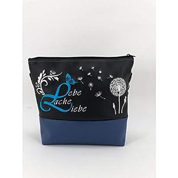 Handtasche Lebe Liebe Lache blau Schultertasche/Umhängetasche *bestickt