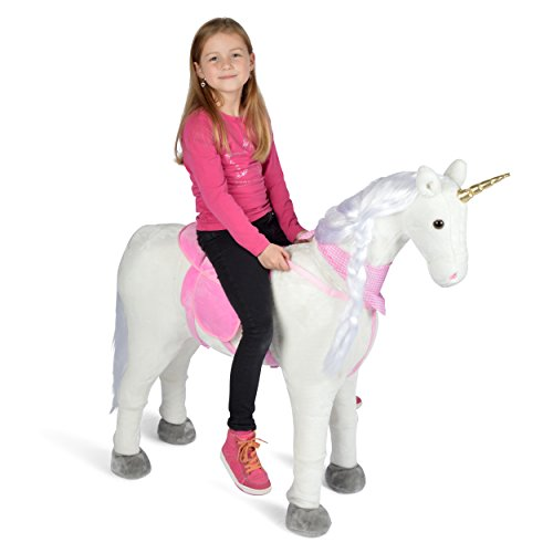 Plush Horse XXL 105cm Unicorn - Lissy, Almost lifesize play horse for riding, XXL standing horse, Children's horse, Carries a weight of up to 100 kg - Toy unicorn incl. small brush - A child's dream!