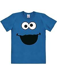 Logoshirt Barrio Sésamo - Monstruo de las Galletas Cara Camiseta - Azul - Diseño original con