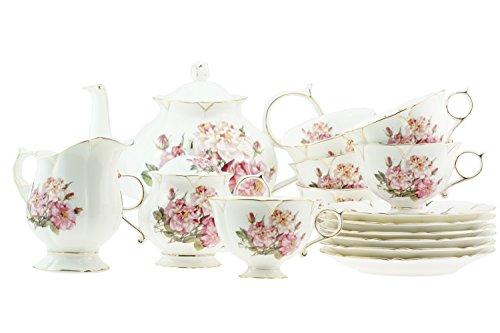 15Piece lusso porcellana tradizionale Vintage villaggio Rosa con bordo oro stile vittoriano Tea/Coffee Set per 6persone