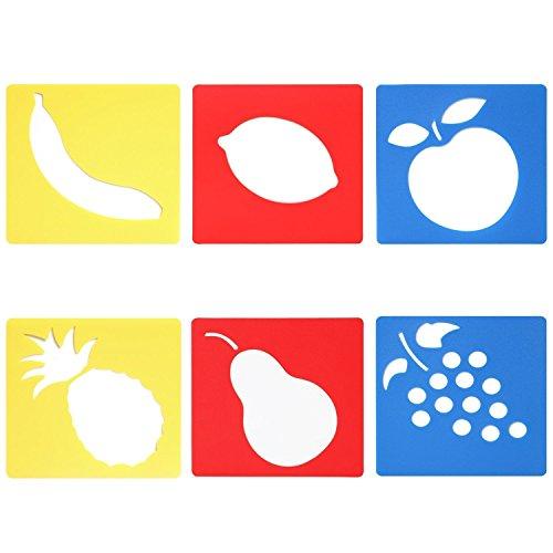 Trixes 6er Set Zeichenschablonen mit Verschiedene Obstsorten für Kinder zum Scrapbooking oder Gruss- und Geburtstagskarten