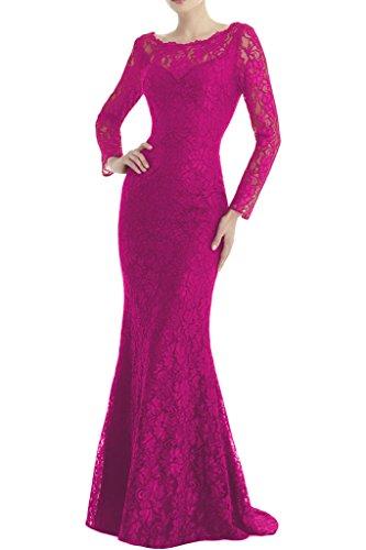 Toscana sposa di alta qualità lunga giromanica Custodia–linea Rueckenfrei punta sera, abiti party ballo vestiti Fuchsie