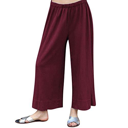 Damen Sommer Hose Atmungsaktive Sporthose Komfortable Elegant Hohe Taille Böhmen Beiläufig Strandhosen Polyester Baumwolle Pants Lose Taschen Hose mit Weitem Bein (EU:36, Rot) -