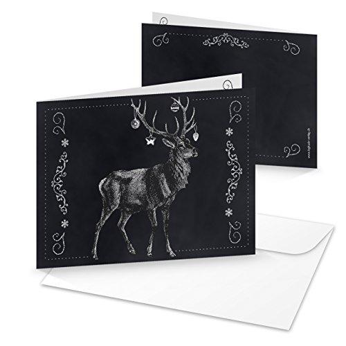 Karte Schwarz Und Weiß (10 Stück edle schwarz weiße Weihnachtskarten HIRSCH Tafelkreide Geweih weihnachtliche Karten MIT KUVERT für Geschäftskunden Firmen Kunden jagdlich Jäger Nostalgie Klappkarte)