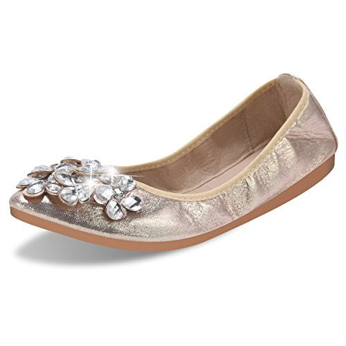 Qimaoo Damen Klassische Ballerina Geschlossene Glitzer Ballerinas Mokassin Slip-on Sommer Flache Schuhe mit Strass, Schwarz Silber und Gold