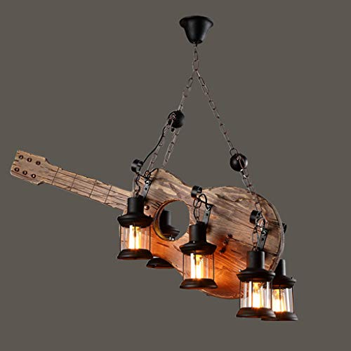 =Araña de luces Araña de viento Industrial Retro de América Creativo de Hierro Forjado Guitarra de Madera Bar Cafetería tienda de ropa Restaurante Salon Lámpara de Estudio -6 Jefes =lamparas colgantes