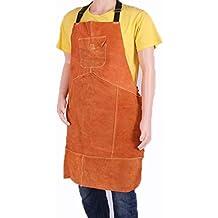 Delantal de cuero para soldar, talla única, color amarillo, resistente al calor y