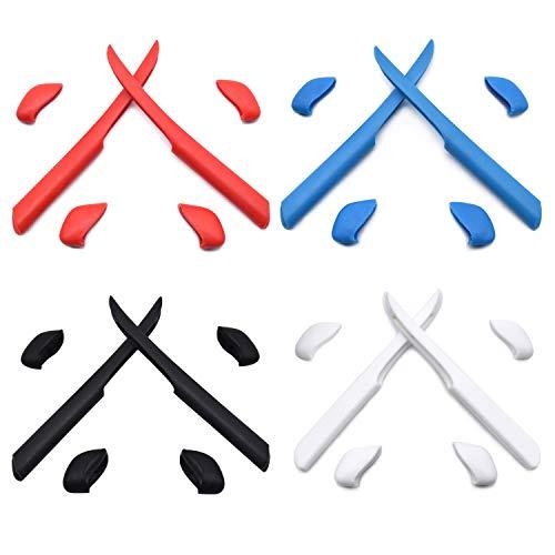 HKUCO Rot/Blau/Schwarz/Weiß Ersatz Silikonbein Set für Oakley Fast Jacket XL Sonnenbrille Gummi-Kit