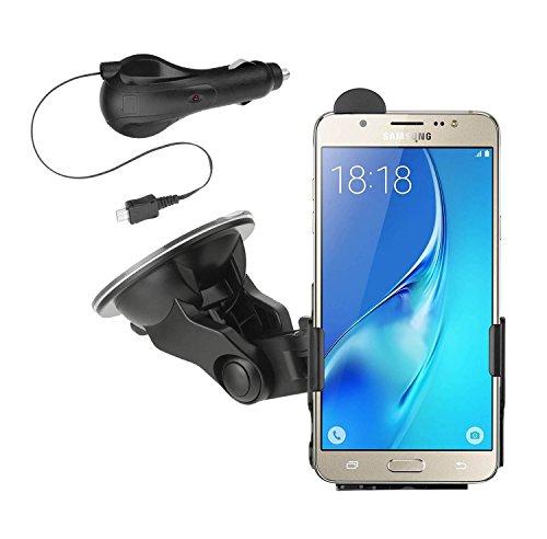 yayago KFZ Halterung 360 Grad drehbar für Samsung Galaxy J7 2016 / Samsung Galaxy On8- Halter AutoHalterung + yayago Kfz Ladekabel mit Aufrollfunktion für Samsung Galaxy J7 2016
