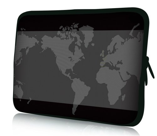 wortek Universal Notebooktasche Sleeve aus Neopren für Laptop bis ca. 10,2 Zoll - Weltkarte Schwarz Grau