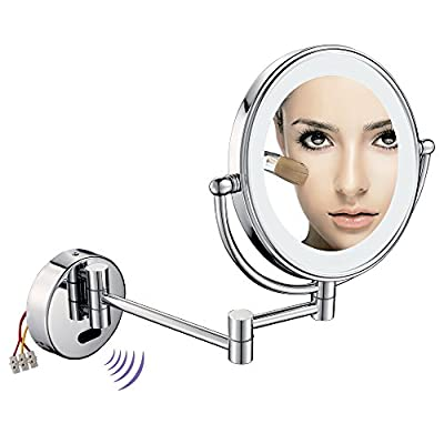 GuRun Sensor 8 Inch Led Lighted Wall Mounted Makeup Mirror With 5X Magnification, Chrome Finish M1803D