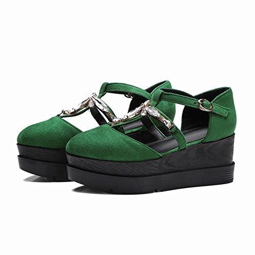Mee Shoes Damen Keilabsatz Nubukleder runde T-Spangen Pumps Grün