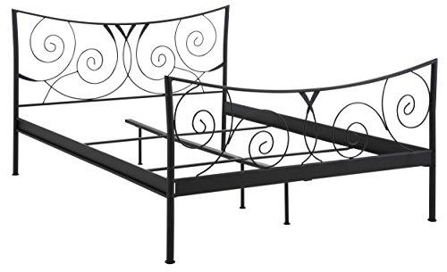 Loft24 Rose Metallbett 180x200 cm schwarz Doppelbett Bettgestell Jugendbett in weiteren Farben und Größen erhältlich