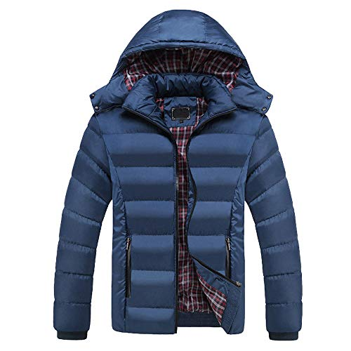 Xmiral Herren Outwear Jacke Casual Warm Reine Farbe Mit Kapuze Reißverschluss Mantel (L,Blau)