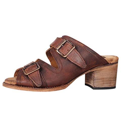 Wawer Sandalen Damen Sommer Leder Absatz Peep Toe Slingback Geschlossen Vintage Römersandalen Outdoor Schuhe
