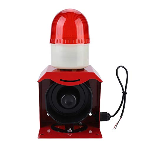 10W 110DB Sirena de alarma 12V / 24V Mini Alta bocina eléctrica de sonido con luz intermitente de alta frecuencia, sonido y alarma visual para sistema de alarma de seguridad para el hogar