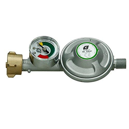 ECD Germany 50 Mbar Gas Butano & Propano Regolatore di Pressione + Manometro di Riempimento