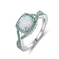 Barzel White Gold Plated Created Opal & Created Gemstone Ring Green
