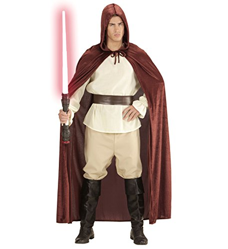 Satin Samt Karneval Jedi Kostüm Herren Damen Halloween Umhang Cape 140cm braun Mönch Robe mit Kapuze Mantel Fasching Horror Star (Robe Kapuzen-horror)