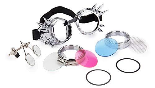 KOLCY Steampunk Brille Rund Silber Partybrille Blau Rosa Kaleidoskop Gläser Schutzbrille Netz Niet Lupe Schmuck Einstellbar Sonnenbrille Accessoire Zeitstil Metall Stil ()