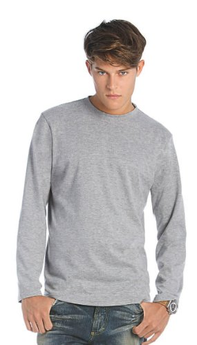 B&C - Langarm T-Shirt Sports Grey