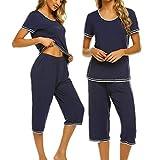 UNibelle Pigiama Due Pezzi Donna Manica Corta Top e Pantaloni Cropped Autunno