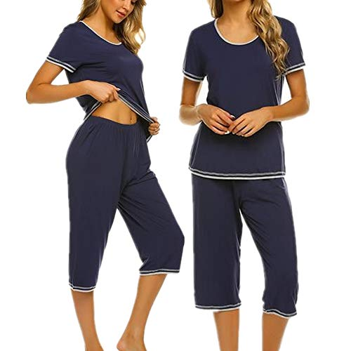 Seide Damen Kurzarm-schlafanzug (Unibelle Damen Pyjama Set Baumwolle Nachtwäsche Zweiteiliger Schlafanzug Frauen Schlafoveralls Freizeitanzug Tops Hosen Set Navy S)