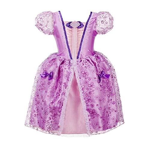 Women's Classic Rosa Kostüm Prinzessin - Livoral Mädchen Hochzeitskleid Partykleid Kinder kleines Mädchen Mädchen Spitze Prinzessin Bling Kostüm Party Kostüm Tutu Kleid Kleid(Lila,150)