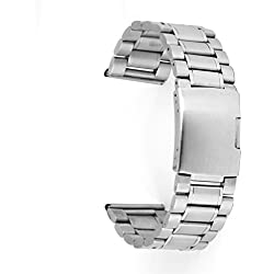 Phenovo Stainless Steel Watch Strap Band Straight End 26mm Silver