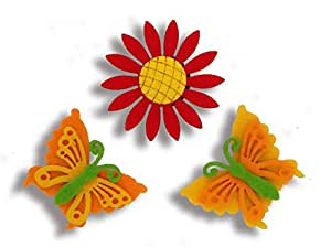 Aayam design and solutions Flower and butterflies fridge magnet (set 0f 3)red flower