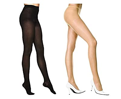 Qraftink Women High Waist skin Stockings Super Fine Fiber Excellent Stretch Sheer Tights Long Comfort Super Soft Pantyhose Skin/Beigh and black(pair of 2)
