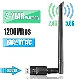YIYOU WiFi Antena USB WiFi Adaptador1200Mbps Dual Band (2.4G 300Mbps / 5.8 G 867Mbps) WiFi Dongle5dBi...