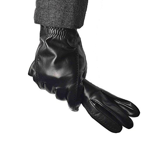 YISEVEN Herren Buttery Soft Lammfell Lederhandschuhe mit Wolle Warm Gefüttert Elegant Winter Leder Autofahrer-Handschuhe, Schwarz XL/10.0