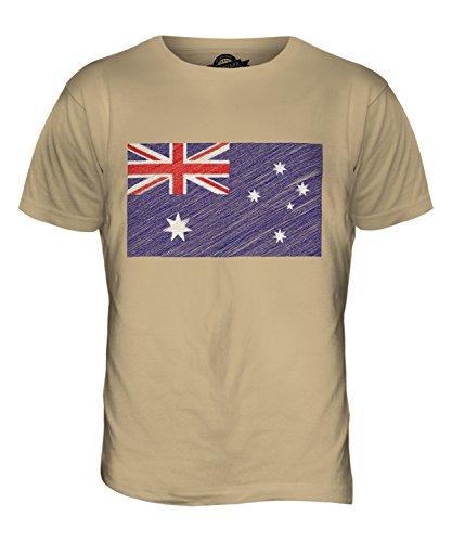 CandyMix Australia Bandiera Scarabocchio T-Shirt da Uomo Maglietta Caramello